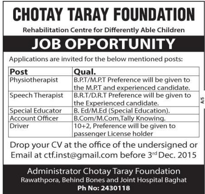 Job Update :chotay-tare-foundation